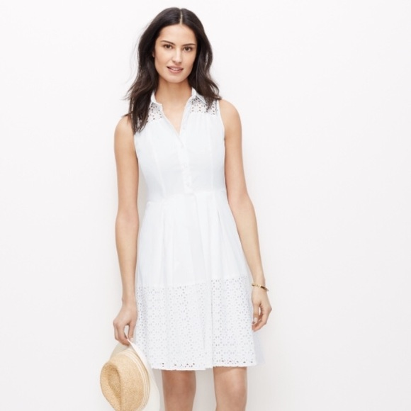 53acf8746b8 Ann Taylor Dresses | Sleeveless Eyelet Shirt Dress | Poshmark